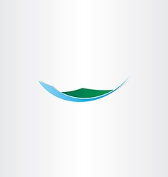 Island mountain and water icon vector