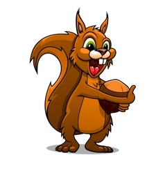 Cartoon squirrel with nut vector