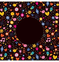 Nature love harmony characters hearts flowers fun vector
