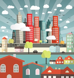 Landscape - town or city with cars and houses in vector