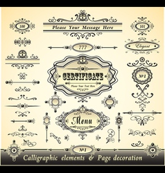 Set calligraphy and pages decoration vector