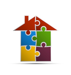 House consisting of pieces of the puzzle vector