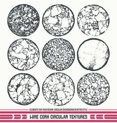 Wine cork circular textures vector