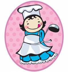 Cooker girl vector