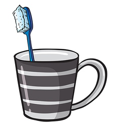 Toothbrush in cup vector