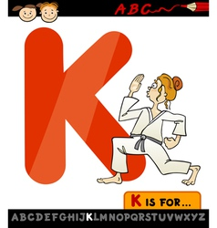 Letter k with karate cartoon vector