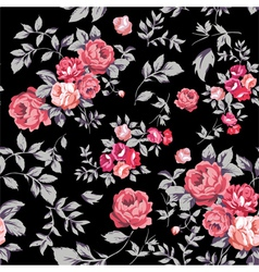 Rose seamless pattern pink black vector
