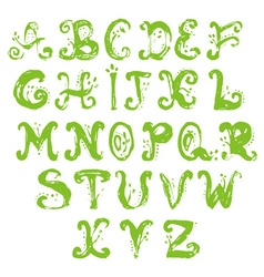 Hand drawn foliage alphabet vector