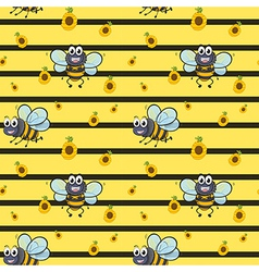 A seamless design with smiling bees vector