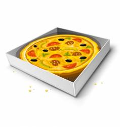 Paper box with pizza illustration vector