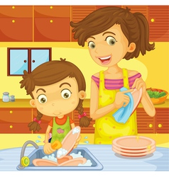 Helping at home vector