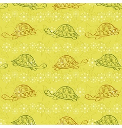Seamless pattern turtles and starfishes vector