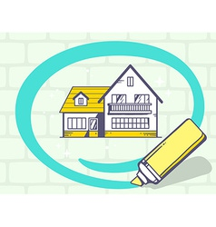 Marker drawing circle around home on gray vector