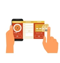 Mobile app for ordering pizza vector