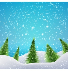 Christmas forest with snowfall and drifts concept vector