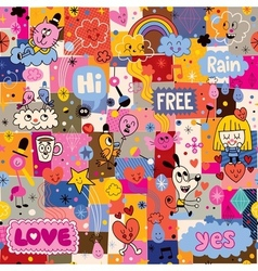 Hand drawn sketchy fun cartoon collage pattern vector