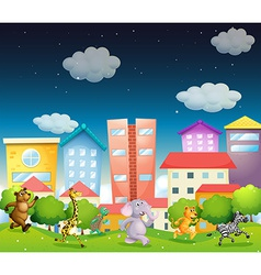 Animals and city vector