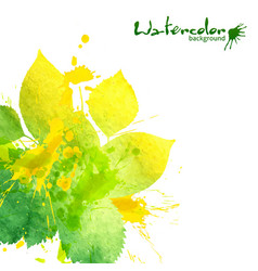 Watercolor texture and splashes green leaves vector
