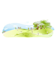 Cute landscape background vector