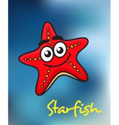 Happy little red cartoon starfish vector