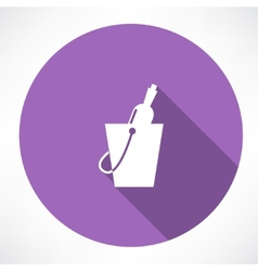 Bottle in a bucket icon vector