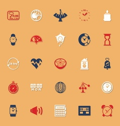 Design time classic color icons with shadow vector