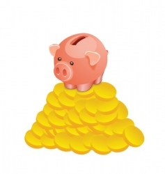Piggy bank with gold coin vector