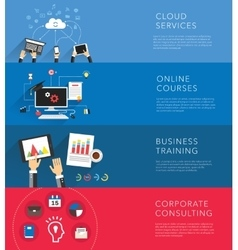 Flat business training templates vector