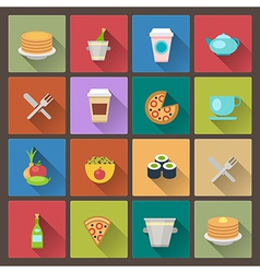 Drink and food icons in flat design style vector