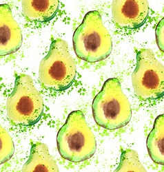Avocado fruit - watercolor seamless pattern vector