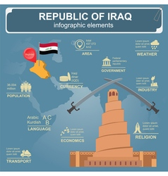 Iraq infographics statistical data sights vector
