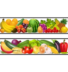 Set food vegetables and fruits painting damp vector