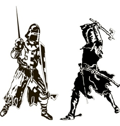 Two medieval knights vector