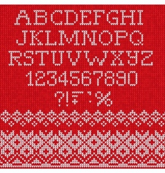 Christmas font scandinavian style seamless knitted vector