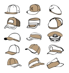 Cap set isolated on white hat icon baseball rap vector