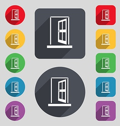 Door enter or exit icon sign a set of 12 colored vector