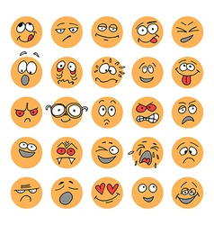 Set of hand drawn emoticons doodle characters vector