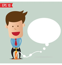 Cartoon business man pumping question bubble vector