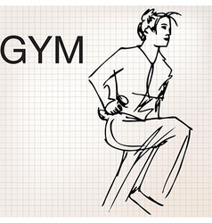 Woman lifting dumbbells at the gym vector