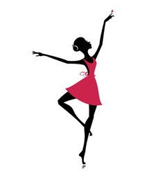 Graceful dancer with a butterfly vector