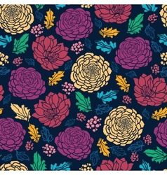 Colorful vibrant flowers on dark seamless pattern vector