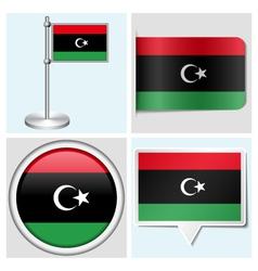 Libya flag - sticker button label flagstaff vector