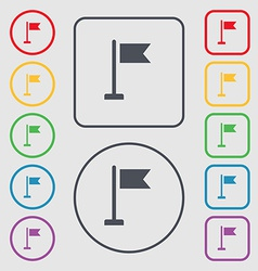 Flag icon sign symbol on the round and square vector