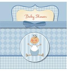 Romantic baby boy shower card vector