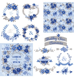 Vintage floral set - frames ribbons backgrounds vector