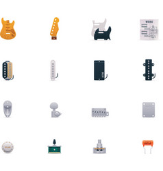 Guitar parts icon set vector