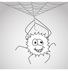 Funny little spider hangs on the web vector