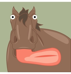Funny cartoon horse showing tongue vector
