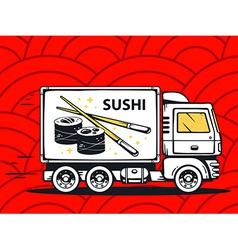 Truck free and fast delivering sushi to c vector