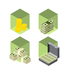 Money icons isometric style vector